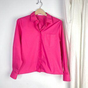 Foxcroft Magenta Pink Boxy Crop Button Down Shirt